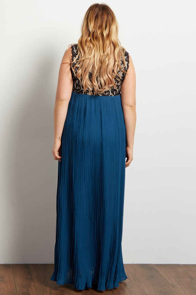 Teal Pleated Chiffon Lace Top Plus Maternity Maxi Dress
