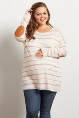 Pink Striped Suede Elbow Patch Plus Maternity Top