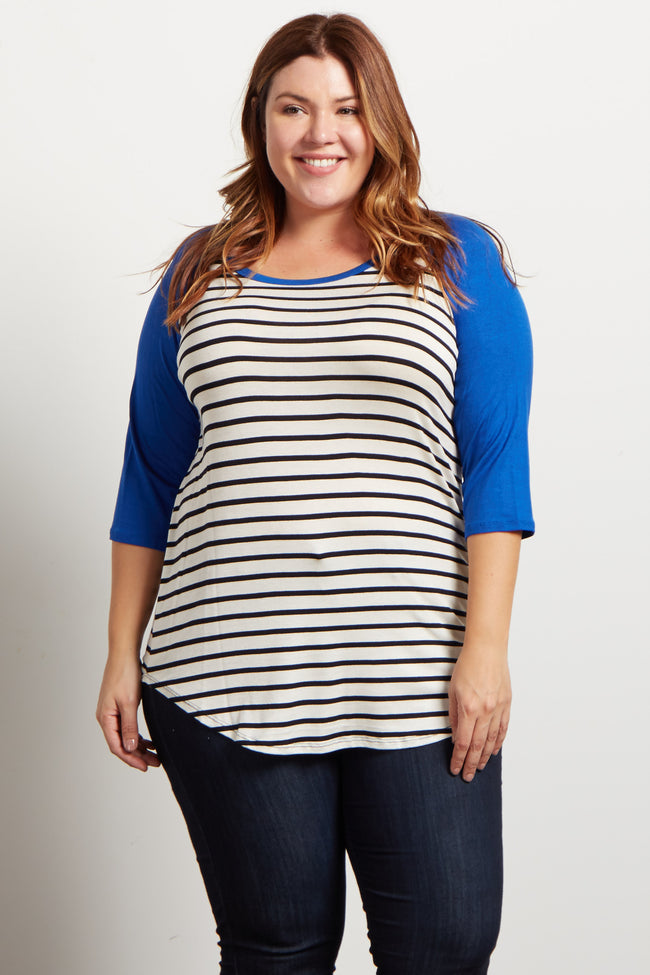 Royal Striped Colorblock Sleeve Plus Top