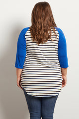Royal Blue Striped Colorblock Sleeve Plus Maternity Top