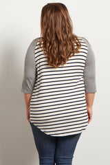 Grey Striped Colorblock Sleeve Plus Maternity Top