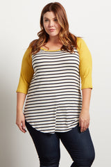 Yellow Striped Colorblock Sleeve Plus Top