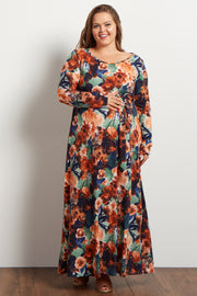 Rust Floral Sash Tie Plus Maternity Maxi Dress