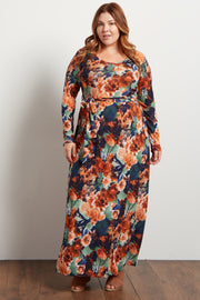 Rust Floral Sash Tie Plus Maxi Dress