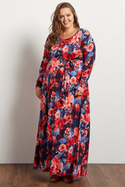 Blue Fuschia Floral Sash Tie Maternity Plus Maxi Dress