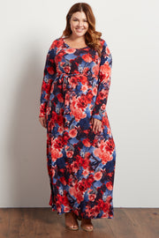 Fuschia Floral Sash Tie Plus Maxi Dress