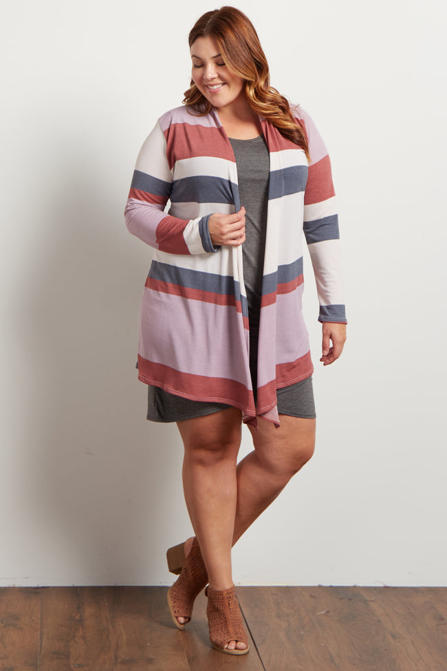 Pink Colorblock Open Front Plus Maternity Cardigan