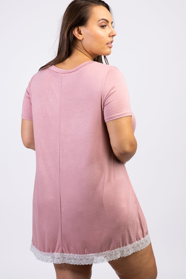 Mauve Lace Trim V-Neck Plus Sleep Dress