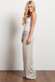 Grey Striped Drawstring Pajama Pants