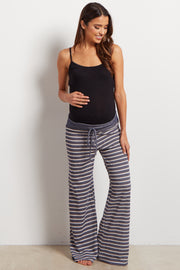 Navy Blue Striped Drawstring Maternity Pajama Pants
