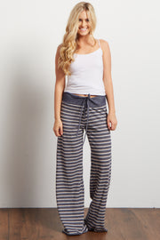 Navy Blue Striped Drawstring Pajama Pants