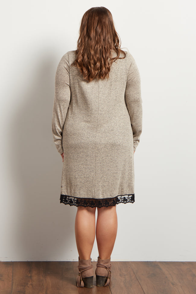 Beige Heathered Crochet Hemline Knit Maternity Plus Dress