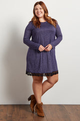 Navy Heathered Crochet Hemline Knit Plus Dress