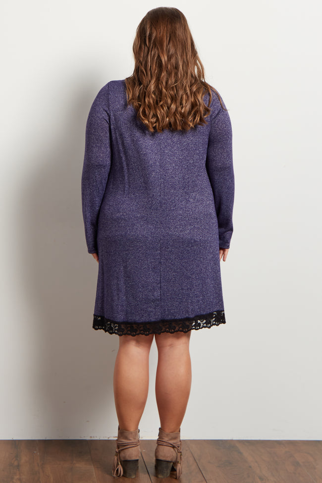 Navy Heathered Crochet Hemline Knit Maternity Plus Dress