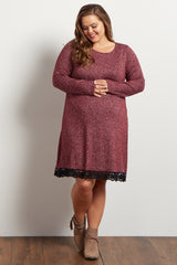 Burgundy Heathered Crochet Hemline Knit Maternity Plus Dress
