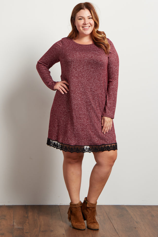 Burgundy Heathered Crochet Hemline Knit Plus Dress