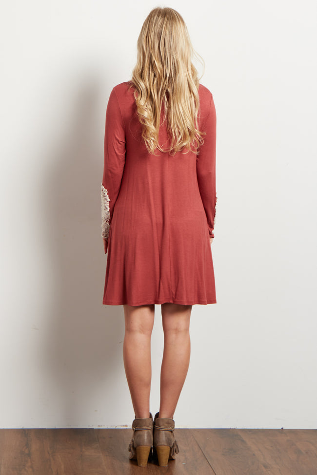 Rust Crochet Accent Long Sleeve Maternity Dress