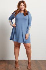 Blue Crochet Accent Long Sleeve Plus Dress