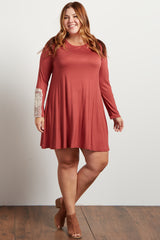 Rust Crochet Accent Long Sleeve Plus Dress