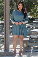 Jade Crochet Accent Long Sleeve Plus Dress