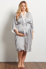 Grey Satin Lace Trim Plus Delivery/Nursing Maternity Robe