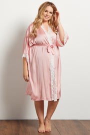 Pink Satin Lace Trim Plus Delivery/Nursing Maternity Robe