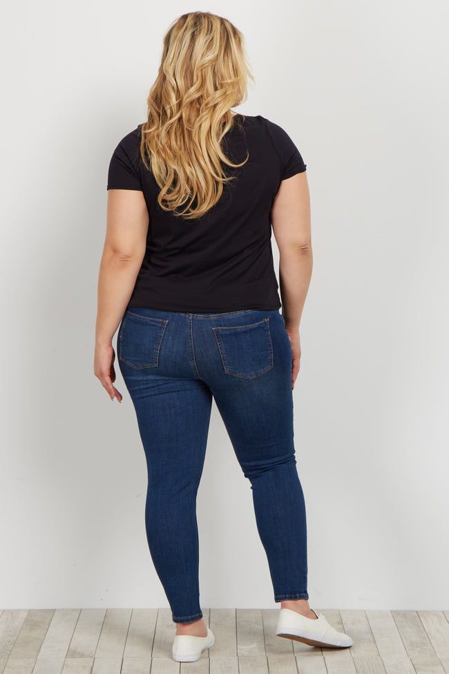 Navy Basic Plus Maternity Skinny Jeans