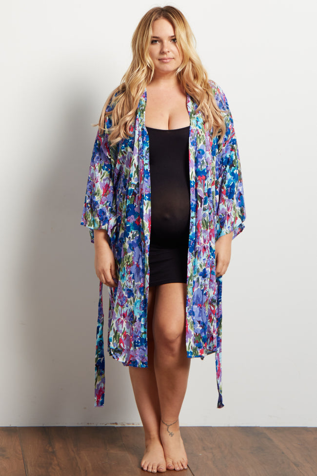 Blue Abstract Floral Delivery/Nursing Plus Maternity Robe