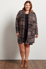 Mauve Tribal Print Long Plus Knit Cardigan