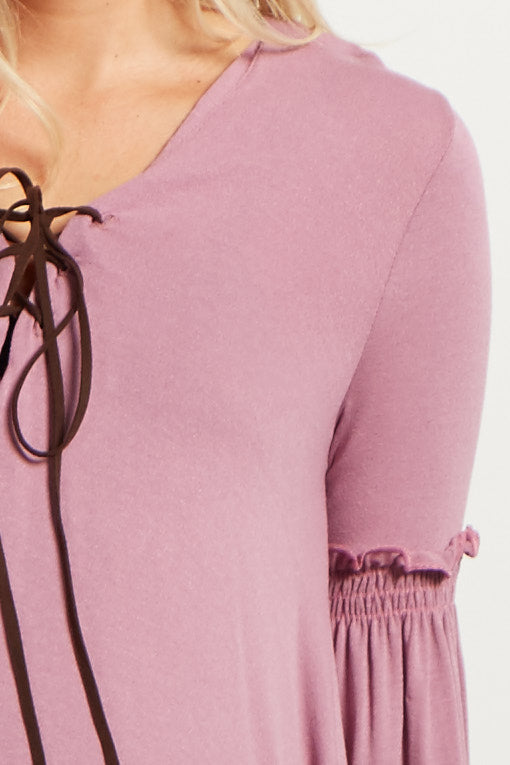 Purple Lace Up Bell Sleeve Maternity Top