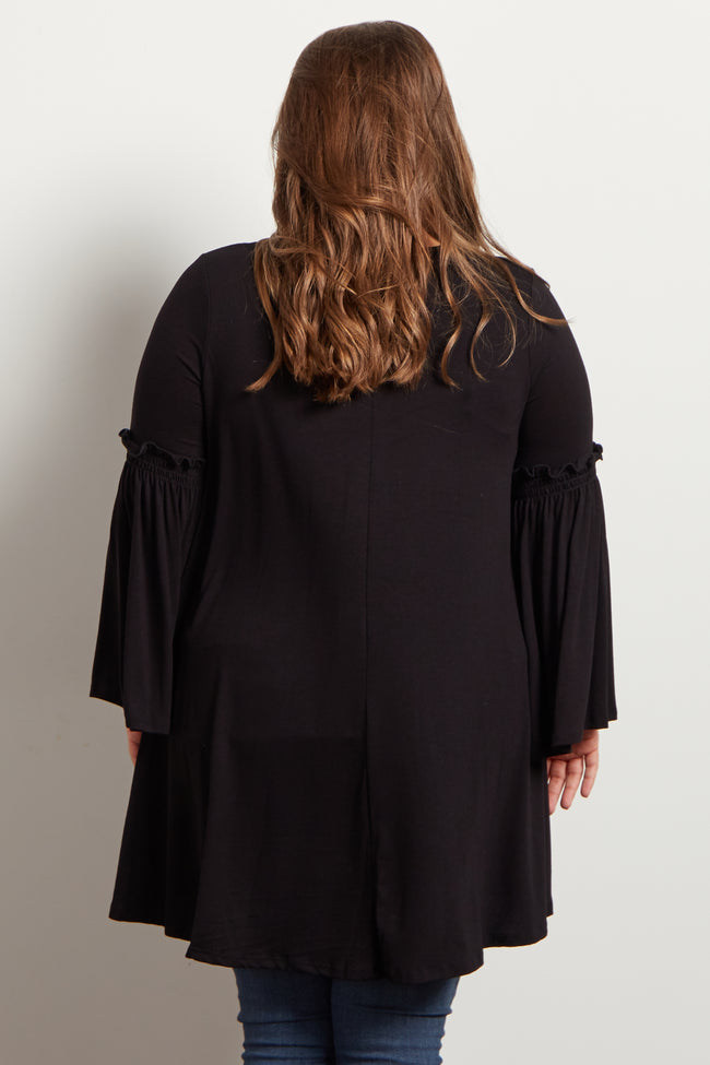 Black Lace Up Bell Sleeve Plus Maternity Top
