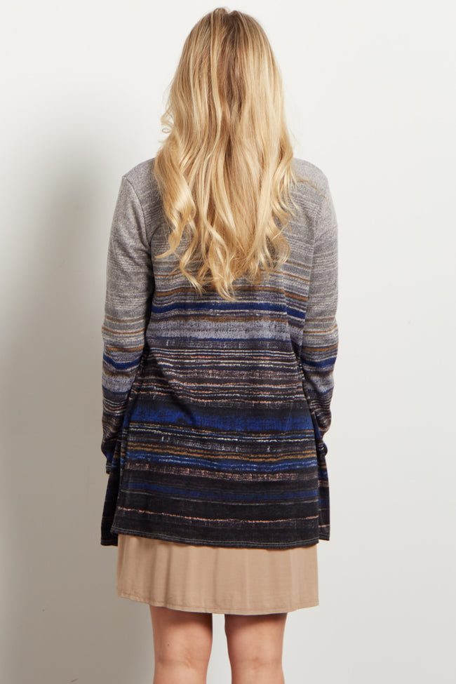 Blue Multi-Color Textured Stripe Maternity Cardigan