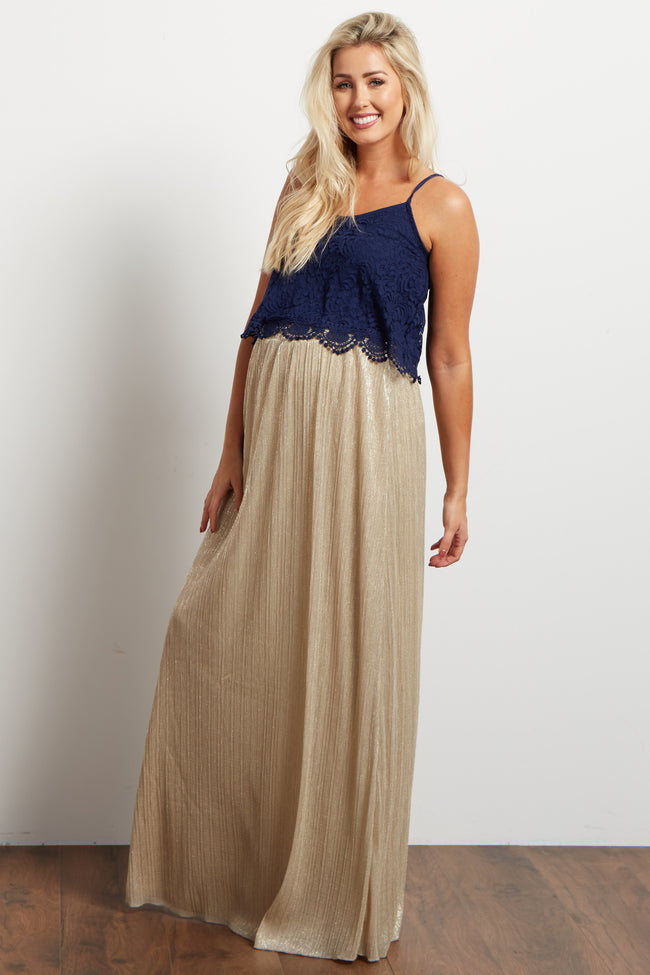 Gold Shimmer Textured Maternity Maxi Skirt