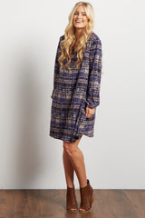 Navy Blue Abstract Plaid Chiffon V Neck Dress