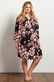 Mauve Floral Plus Delivery/Nursing Maternity Robe