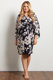 Purple Floral Plus Delivery/Nursing Maternity Robe