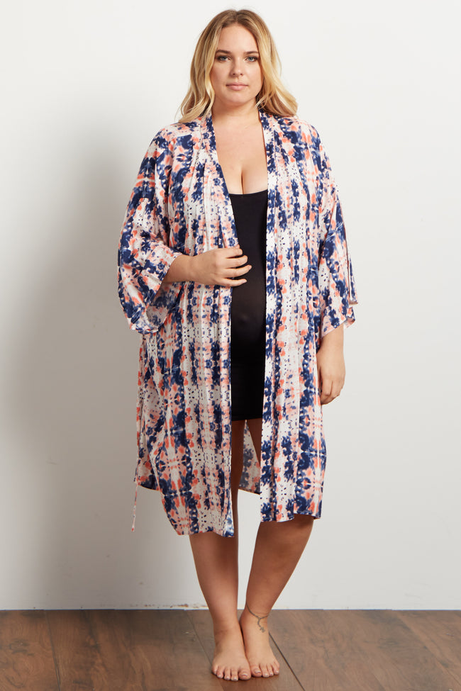 Peach Navy Abstract Delivery/Nursing Plus Maternity Robe