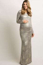 Gold Foiled Fitted Maternity Evening Gown