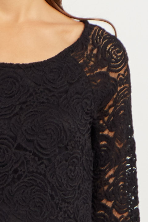 Black Lace Rosette Overlay Maternity Dress