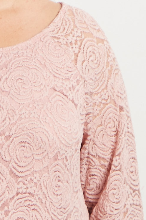 Mauve Lace Rosette Overlay Plus Maternity Dress