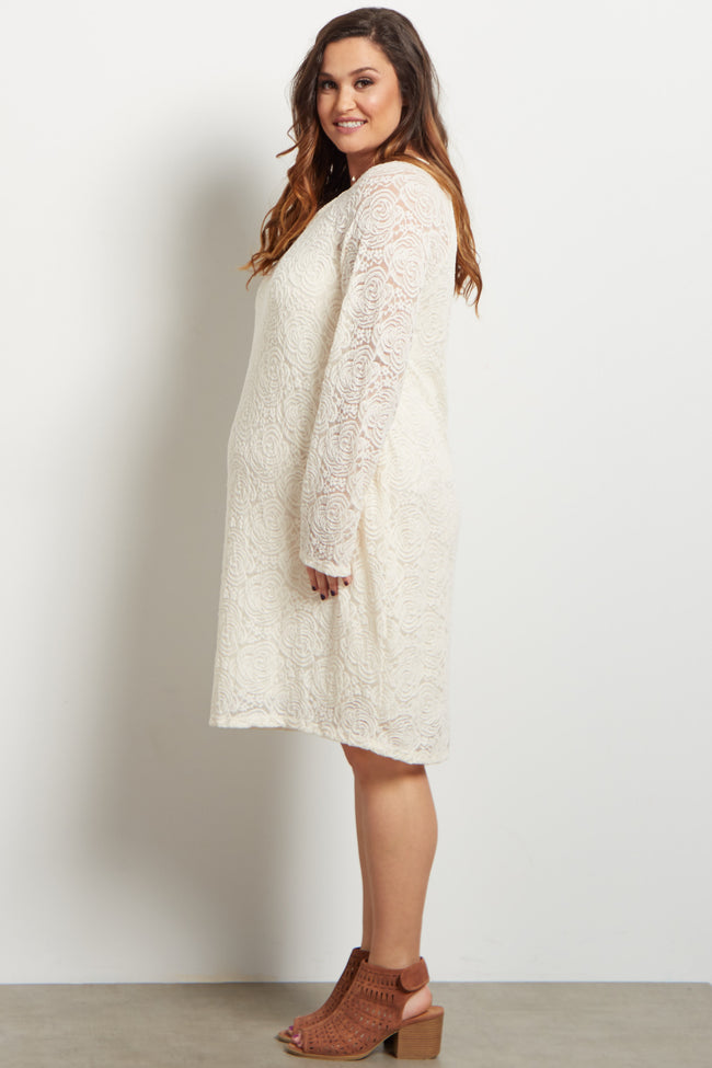Ivory Lace Rosette Overlay Plus Maternity Dress