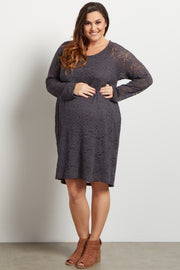 Charcoal Lace Rosette Overlay Plus Maternity Dress