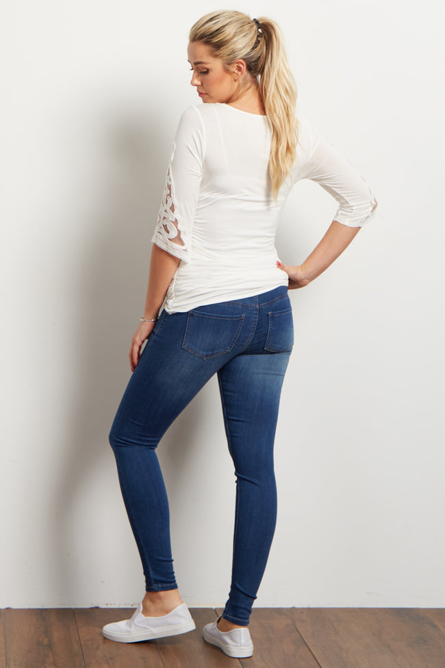 Navy Faded Stretch Maternity Skinny Jeans