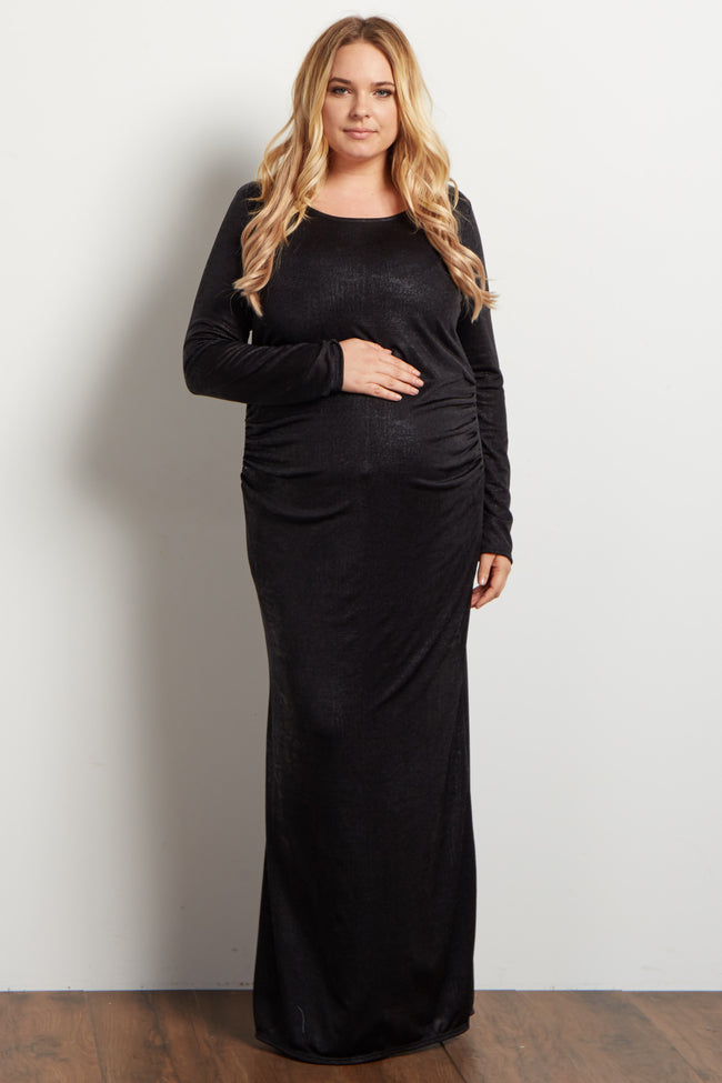 Black Metallic Foil Fitted Plus Maternity Evening Gown
