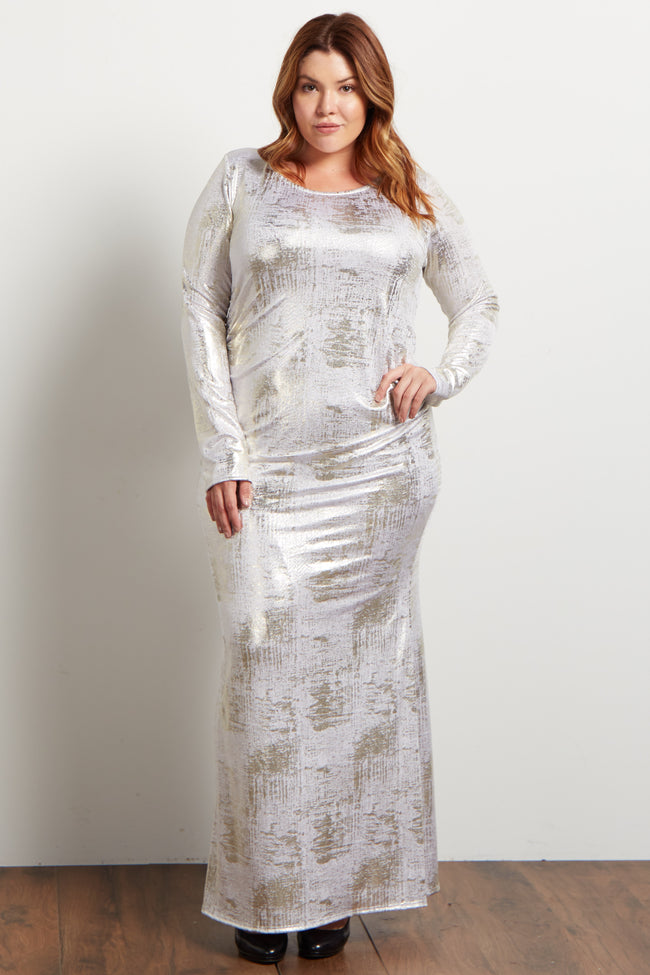 Ivory Foiled Fitted Plus Evening Gown