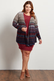 Burgundy Multi-Color Textured Stripe Plus Cardigan