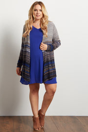 Blue Multi-Color Textured Stripe Plus Maternity Cardigan