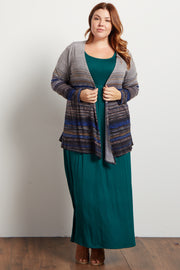 Blue Multi-Color Textured Stripe Plus Cardigan