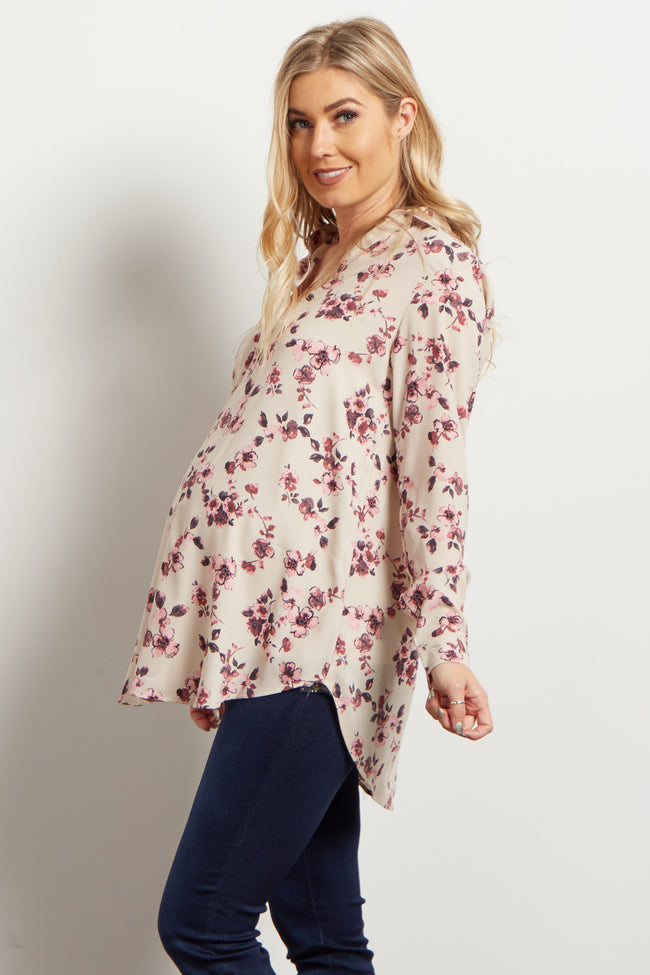 Taupe Floral Button Up Maternity Blouse
