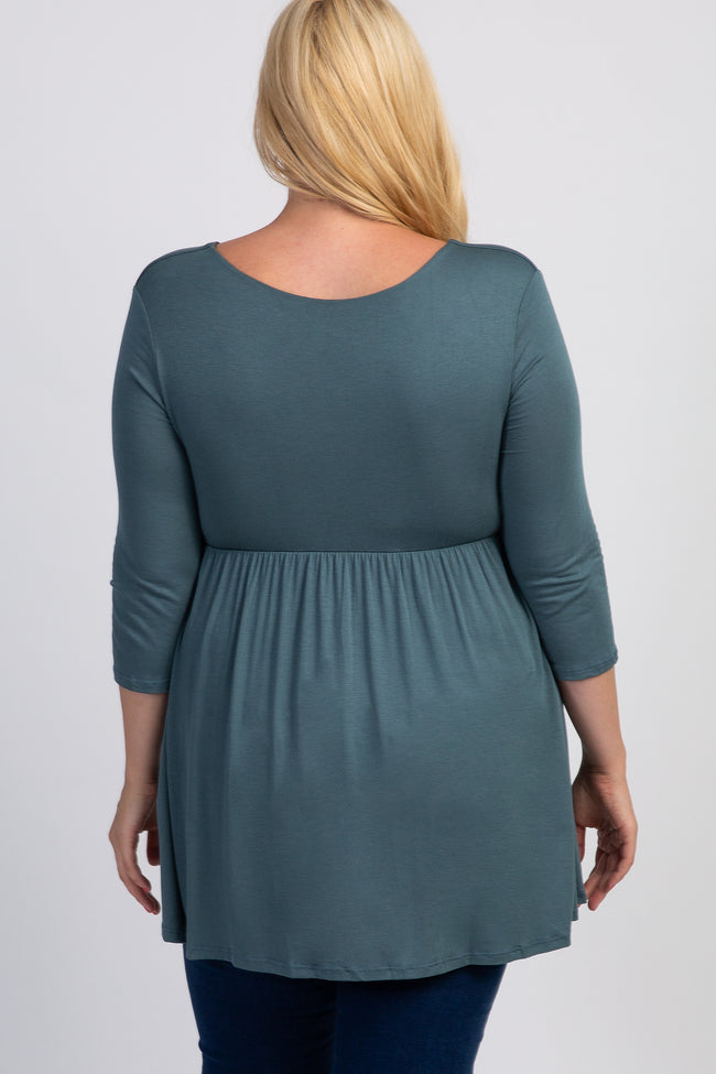 Dusty Sage Draped Front 3/4 Sleeve Maternity/Nursing Plus Top